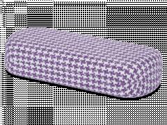 Brillendoos - Haanmotief in paars en wit